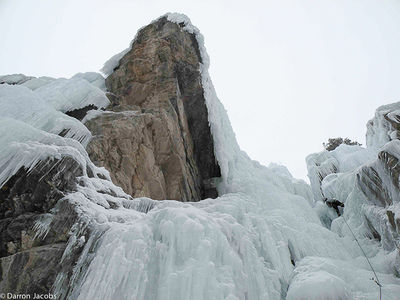 By Gully WI2/3 30m, Scottish Gullies area Ouray Ice Park, Colorado, Bean Powers, San Juan Mountain Guides, Uncompahgre Gorge,