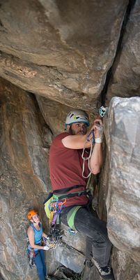 Anthony Johnson, leading, 5.11 **** classic, Roadrunner, trad climbing gear, clear creek canyon, golden, colorado