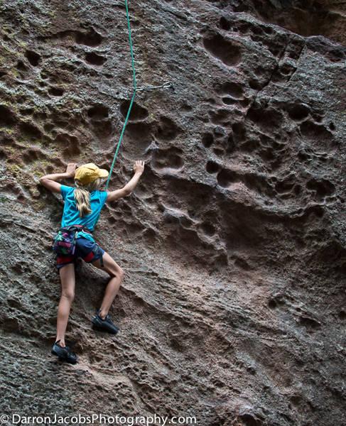 Rock climbing at Der Zerkle, the Flatirons, Boulder, Colorado