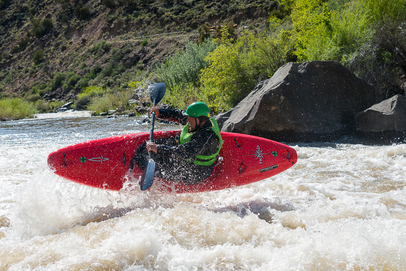 Aren Rane,  Racecourse, Rio Grande River, New Mexico, ender trick, grade III river, whitewater, kayaking, Santa Fe Workshops, Adventure Photography Workshop, Michael Clark. , photo